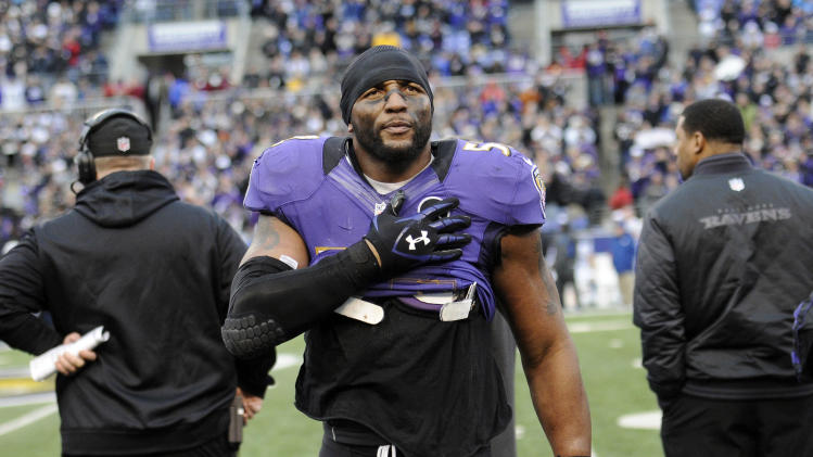 Baltimore Ravens inside linebacker Ray Lewis reacts on the sidelines during the second half of an NFL wild card playoff football game against the Indianapolis Colts Sunday, Jan. 6, 2013, in Baltimore. Lewis has said he will retire at the end of the season, and the Ravens won 24-9. (AP Photo/Nick Wass)