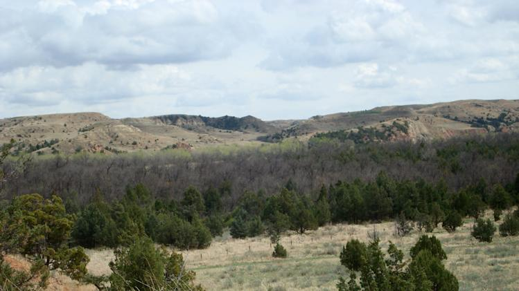 This May 4, 2012, photo provided by the National Park Service shows the Elkhorn Ranch site in the badlands of North Dakota, where Theodore Roosevelt retreated to raise cattle following the deaths of his wife and mother in 1884. The former president's great-grandson, Tweed Roosevelt, is asking President Barack Obama to designate the area as a national monument, which would block development on an adjacent plot of land, including a plan to mine gravel that would bring heavy machinery, roads, noise and dust to the site. The pristine park is visited by more than half-a-million people each year. (AP Photo/National Park Service, Valerie J. Naylor)