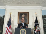 President Barack Obama talks about the ongoing budget ceiling negotiations, Friday, July 29, 2011, in the Diplomatic Reception Room of the White House in Washington. (AP Photo/Pablo Martinez ...