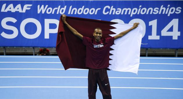 First placed Barshim of Qatar celebrates after the men's high jump final at the world indoor athletics championships at the ERGO Arena in Sopot