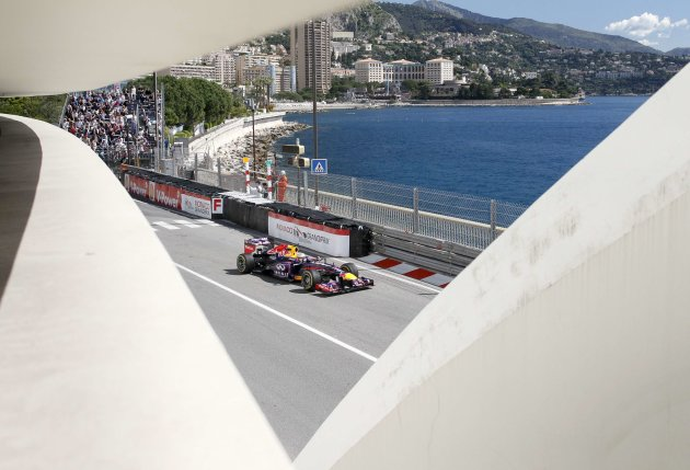 Red Bull Formula One driver Sebastian Vettel of Germany drives during the first practice session of the Monaco F1 Grand Prix