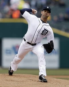 Detroit Tigers pitcher Anibal Sanchez throws against the Toronto Blue Jays in the first inning of a baseball game in Detroit, Tuesday April 9, 2013. (AP Photo/Paul Sancya)