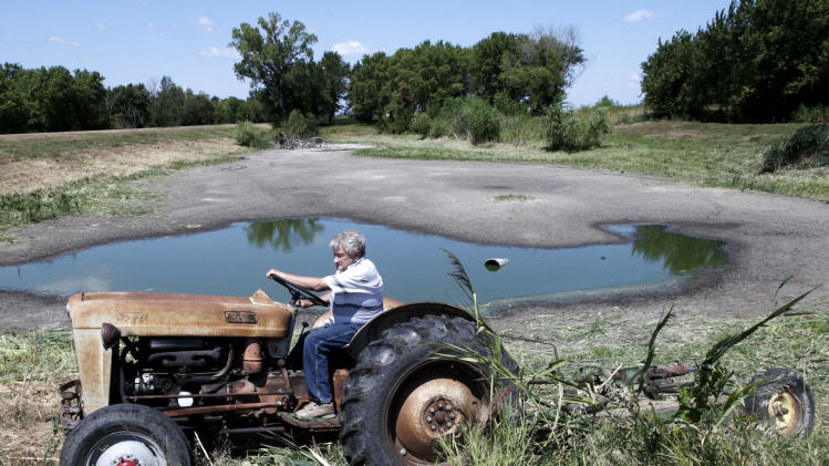 In this Thursday, Aug. 9, 2012 file photo, Jerry Johnson of Ashland uses his antique 57 Ford tractor to mow vegetation around his drying pond in Ashland, Neb. Delegates from nearly 200 countries are meeting in the Qatari capital of Doha to discuss ways slowing climate change, including by cutting emissions of greenhouse gases that scientists say are warming the planet, melting ice caps, raising sea levels, and changing rainfall patterns with impacts on floods and droughts. (AP Photo/Nati Harnik, File)