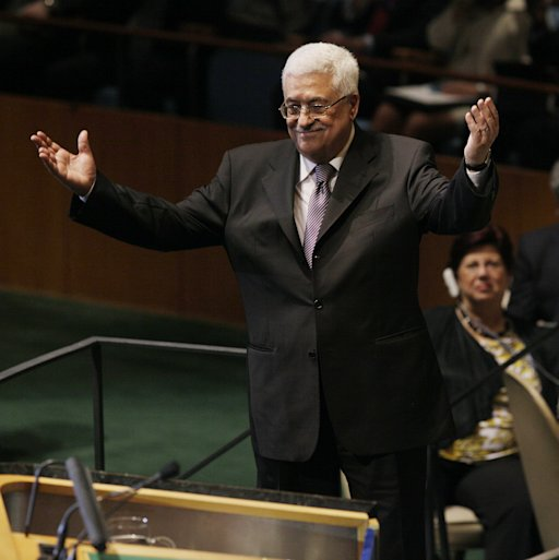 Palestinian President Mahmoud Abbas gestures toward the audience after he addressed the 66th U.N. General Assembly at at United Nations headquarters Friday, Sept.  23,  2011. (AP Photo/David Karp)