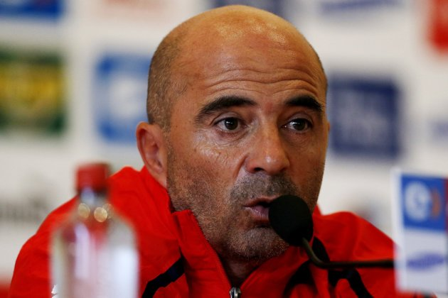 Chile's national soccer head coach Jorge Sampaoli attends a news conference in Santiago