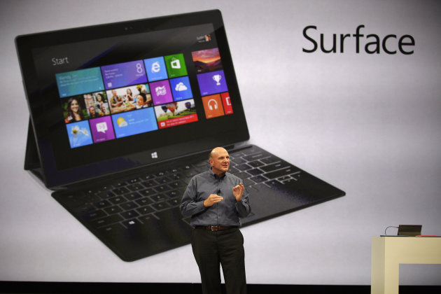 "Microsoft CEO Steve Ballmer unveils ""Surface"", a new tablet computer to compete with Apple's iPad, at Hollywood's Milk Studios in Los Angeles Monday, June 18, 2012. The 9.3 millimeter thick tablet com"