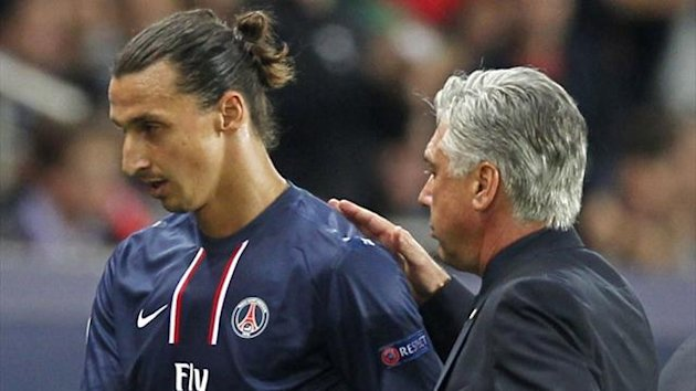 Paris St Germain&#39;s Zlatan Ibrahimovic leaves the pitch past coach Carlo Ancelotti during their Champions League match against Dynamo Kiev at the Parc des Princes (Reuters)