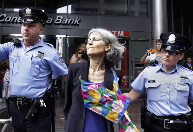 Green Party presidential nominee Jill Stein, is transported in restraints to be arrested after a sit-in at a downtown Philadelphia bank over housing foreclosures. Wednesday, Aug. 1, 2012, in Philadelp