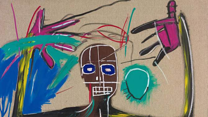 """This undated photo provided by Sotheby's shows """"Punch Bag,"""" by Brooklyn-born artist Jean-Michel Basquiat who was was 27 when he died in 1988. More than 30 works by Basquiat will go on exhibit at Sotheby's New York galleries from May 2 through June 9, before a private sale. (AP Photo/Sotheby's)"""