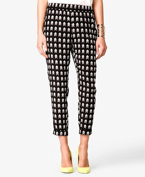 Arrowhead print satin trousers, $19.80 at forever21.com