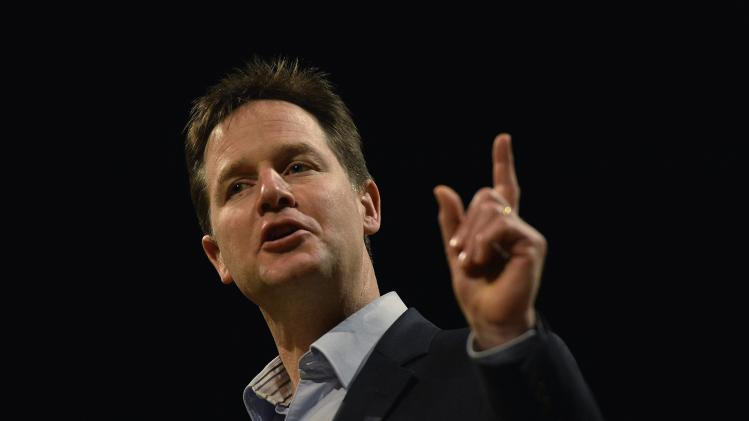 Britain's Deputy Prime Minister Clegg speaks at a question and answer session during the Liberal Democrat party's spring conference in York