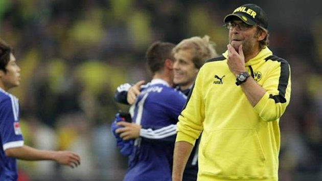 Juergen Klopp of Borussia Dortmund against Schalke