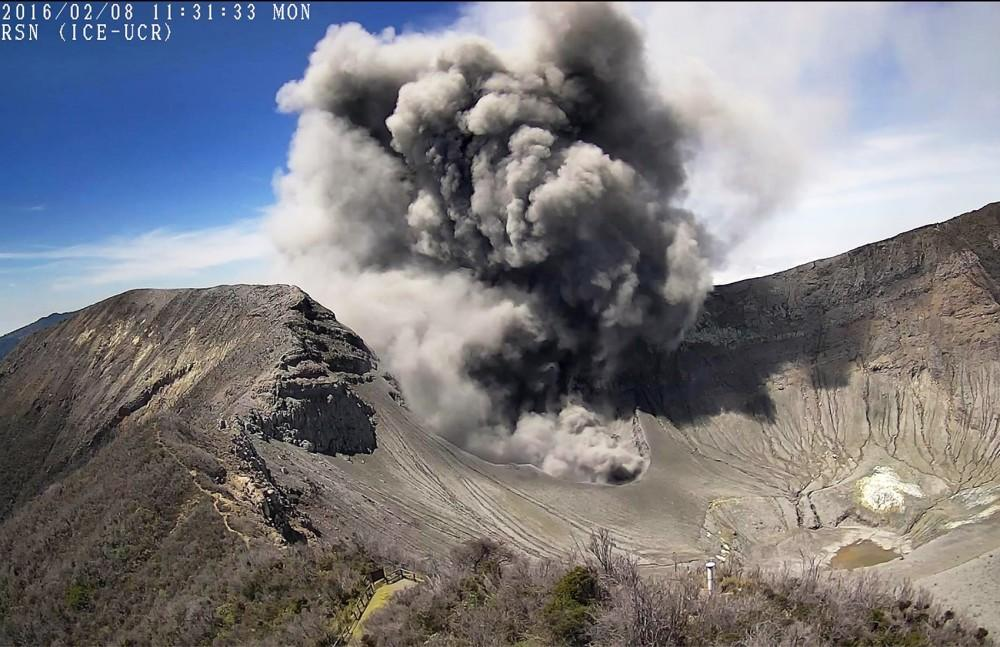 Costa Rica's Turrialba Volcano heats up; towering ash plumes fill the sky