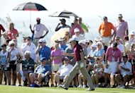 Rory McIlroy of Northern Ireland waves to the crowd during round one of the 94th PGA Championship on Kiawah Island, South Carolina. McIlroy got his 2012 PGA Championship off to a solid start Thursday as he rolled in five birdies in a bogey-free round of five-under 67 to climb to near the top of the leaderboard