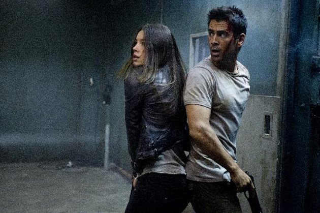 This film image released by Columbia Pictures shows Jessica Biel , left, and Colin Farrell in a scene from the action thriller &quot;Total Recall.&quot; (AP Photo/Columbia Pictures - Sony, Michael Gibson)