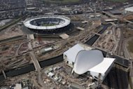 An aerial view of the Olympic Stadium and the Aquatics Centre in an image taken on March 24, 2011 and released by the Olympic Delivery Authority press office. The organisers of the London Olympics hope their mammoth �9.3 billion investment will regenerate east London, but critics fear it will only create an island of prosperity amid run-down neighbourhoods