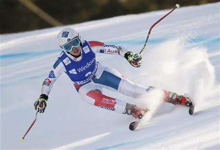 Weirather of Liechtenstein speeds down during the women's Alpine Skiing World Cup super-G race in Garmisch-Partenkirchen