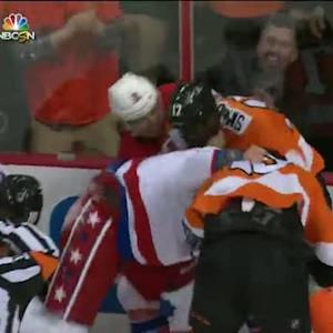 Caps and Flyers scrap in the first period