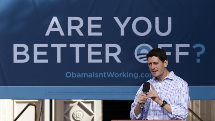 Republican vice presidential candidate Rep. Paul Ryan, R-Wis., speaks during a campaign event at the Dallas County Courthouse in Adel, Iowa, Wednesday, Sept. 5, 2012. (AP Photo/Mary Altaffer)