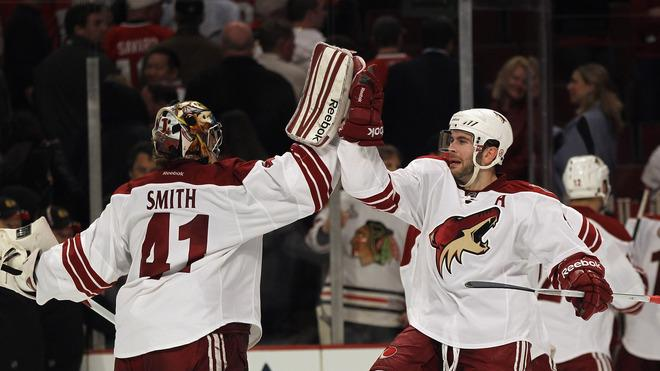 Keith Yandle #3 Of The Phoenix Coyotes (R) Celebrates Getty Images