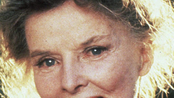 FILE - This 1981 file photo shows actress Katharine Hepburn.  Connecticut's second-highest court upheld a lower court ruling ordering Frank Sciame a prominent New York City developer was ordered to shave a foot off the height of two 5-foot granite posts he had installed at the driveway entrance to Hepburn's former estate along the Connecticut shore. Sciame bought Hepburn's nearly 4-acre estate, which includes an 8,400-square-foot home, for $6 million in 2004. He made extensive renovations and is now trying to sell it for $30 million. (AP Photo, File)