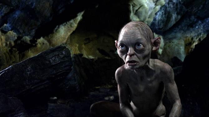 """FILE - This publicity file photo released by Warner Bros., shows the character Gollum voiced by Andy Serkis in a scene from the fantasy adventure """"The Hobbit: An Unexpected Journey.""""  (AP Photo/Warner Bros., File)"""