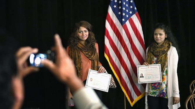 Chicago Mayor Emanuel Attends Citizenship Certificate Ceremony For Over 60 Children