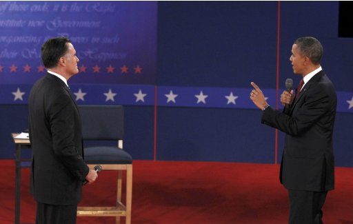 U.S. President Obama and Republican presidential nominee Romney debate during the second U.S. presidential debate in Hempstead