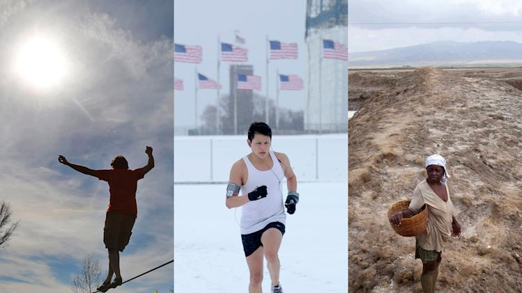 In this combination of March 2014 photos, a slackline walker enjoys the sunny and warm weather in Duesseldorf, Germany; a jogger runs on the snow-covered grounds of the Washington Monument in Washington; and a worker, suffering from heat exhaustion, leaves her shift early at the salt evaporation ponds in Anse-Rouge, Haiti. U.S. federal forecasters calculated that for most of the Earth, March 2014 was one of the hottest Marchs on record - except in the United States. The National Oceanic and Atmospheric Administration said March 2014 was the fourth hottest March in 135 years of records. The global temperature was 1.3 degrees Fahrenheit warmer than the 20th century average. (AP Photo/Frank Augstein, Susan Walsh, Dieu Nalio Chery)