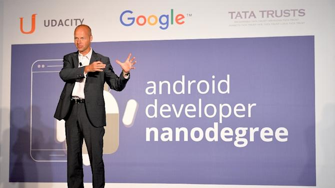 Founder and CEO of Udacity Sebastian Thrun addresses a press conference during the launch of Android Nanodegree in India, in Bangalore on September 21, 2015