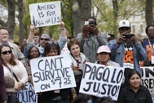 Low-wage workers rally on Capitol Hill in Washington, …