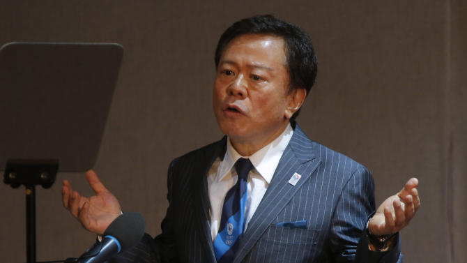 "In this May 30, 2013 photo, Tokyo Gov. Naoki Inose speaks during the presentation of Tokyo as a candidate city for the 2020 Olympics at the SportAccord International Convention in St. Petersburg, Russia. Inose rushed to ""clarify"" uncomplimentary comments about the rival bid by the Turkish capital, Istanbul, to host the 2020 Olympic Summer Games. (AP Photo/Dmitry Lovetsky, File)"