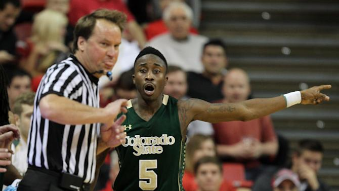 Colorado State's Jon Octeus reacts to a call during the second half of an NCAA college basketball game against UNLV on Wednesday, Feb. 26, 2014, in Las Vegas. UNLV defeated Colorado State 78-70