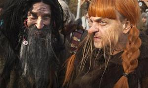 "People dressed up as dwarves film a promotional video for the ""The Hobbit: The Desolation of Smaug"" at Belvedere Castle in Central Park, New York"