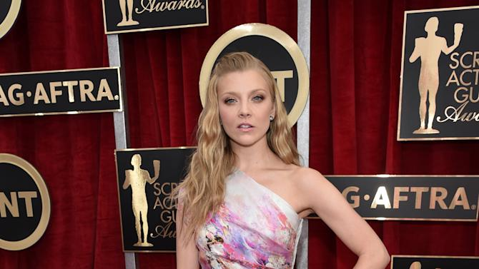 Natalie Dormer arrives at the 21st annual Screen Actors Guild Awards at the Shrine Auditorium on Sunday, Jan. 25, 2015, in Los Angeles. (Photo by John Shearer/Invision/AP)