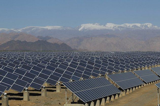 Large solar panels in Hami, China's Xinjiang region, on May 8, 2013