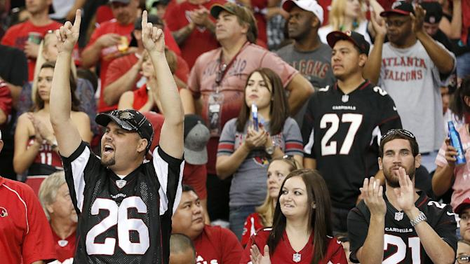 Arizona Cardinals fans cheer after Larry Fitzgerald made his 800th career catch during the second half of an NFL football game against the Atlanta Falcons on Sunday, Oct. 27, 2013, in Glendale, Ariz. The Cardinals won 27-13