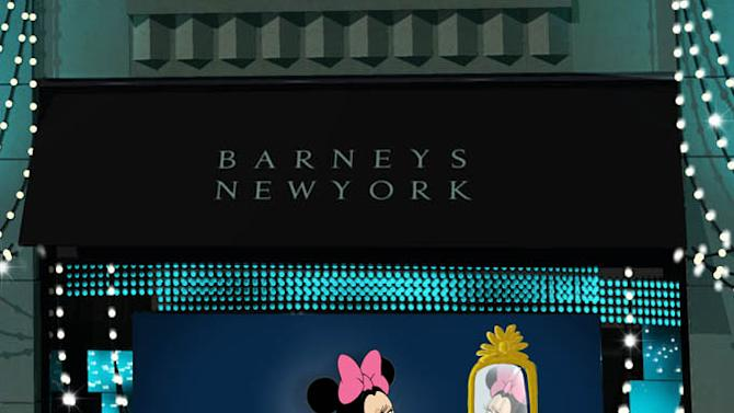 This undated artist rendering released by Barneys New York / Disney shows Disney character Minnie Mouse featured in the Barneys New York Madison Avenue holiday window. The upcoming holiday display will feature classic Disney characters on the runway in front of an audience of animated versions of industry bigwigs. The short film that will be shown in the retailer's windows in all of its flagship stores and will feature Minnie's dream sequence of walking the runway in a hot-pink, ruffle-covered Lanvin dress. (AP Photo/Barneys New York / Disney)