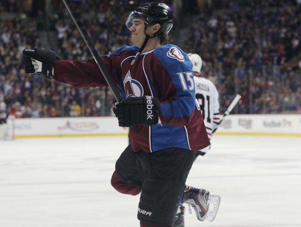 Colorado Avalanche right wing PA Parenteau celebrates his short-handed goal against the Chicago Blackhawks in the third period of the Avalanche's 6-2 victory in an NHL hockey game in Denver on Friday, March 8, 2013. The Blackhawks lost in regulation for the first time this season. (AP Photo/David Zalubowski)