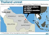 Graphic showing the insurgency-hit provinces of southern Thailand