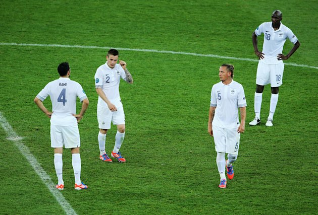 (L-R) Adil Rami, Mathieu Debuchy, Philippe Mexes And Alou Diarra Of France Look Dejected  Getty Images