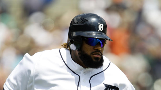 Detroit Tigers' Prince Fielder runs the bases after hitting a solo home run against the St. Louis Cardinals in the fourth inning of a baseball game in Detroit, Thursday, June 21, 2012. (AP Photo/Paul Sancya)