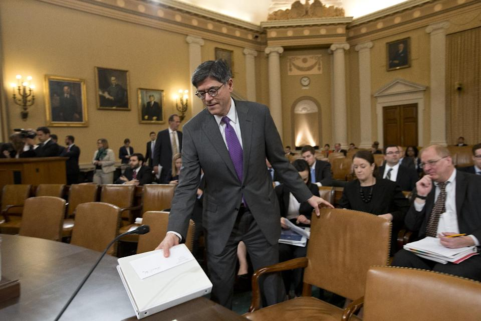 Treasury Secretary Jack Lew arrives on Capitol Hill in Washington, Thursday, April 11, 2013, to testify before the House Ways and Means Committee to defend President Barack Obama's budget proposal for fiscal 2014.  (AP Photo/J. Scott Applewhite)