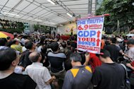 A rally in Singapore today to call for an immigration slowdown. The peaceful rally, held at an officially designated protest zone, was staged by a civic group after the government said foreigners could account for nearly half of the densely packed island&#39;s population in less than 20 years