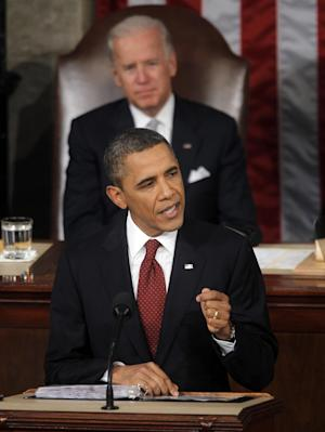 President Barack Obama gives State of the Union address on Capitol in Washington, Tuesday, Jan. 24, 2012. Vice President Joe Biden is behind the president. (AP Photo/Pablo Martinez Monsivais)