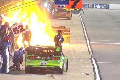 Huge pit road fire breaks out during NASCAR race