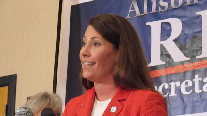 Democrat Alison Lundergan Grimes speaks with reporters about her decision to challenge U.S. Senate Republican Leader Mitch McConnell during a press conference in Frankfort, Ky., on Monday, July 1, 2013. Grimes criticized McConnell as an obstructionist in Washington. (AP Photo/Roger Alford)