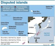 Sea-border claims between Japan and China, and the approximate extent of a contested gas deposit