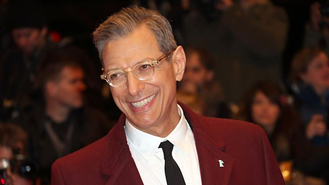 """FILE - This Feb. 6, 2014 file photo shows actor Jeff Goldblum at the screening of the film The Grand Budapest Hotel and opening night of the 64th Berlinale International Film Festival in Berlin. The Cafe Carlyle said that the """"Jurassic Park"""" star will perform Sept. 16–20 with his jazz band, The Mildred Snitzer Orchestra. The actor has sung and played piano with the band for years but the new dates mark their New York premier. (Photo by Joel Ryan/Invision/AP, File)"""