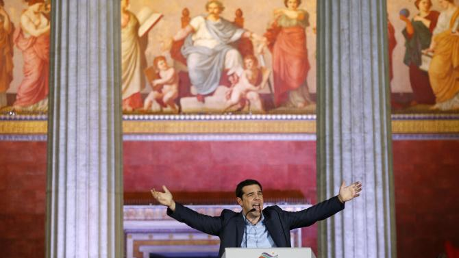 Head of radical leftist Syriza party Alexis Tsipras speaks after winning the elections in Athens